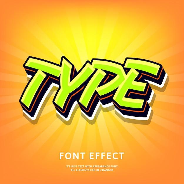 Style 3d Moderne Lettrage Effet De Texte Graffiti Style Pop Vert Sur Orange Vecteur Premium