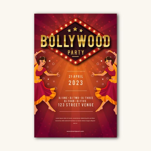 Style D'affiche De Fête De Bollywood Vecteur gratuit