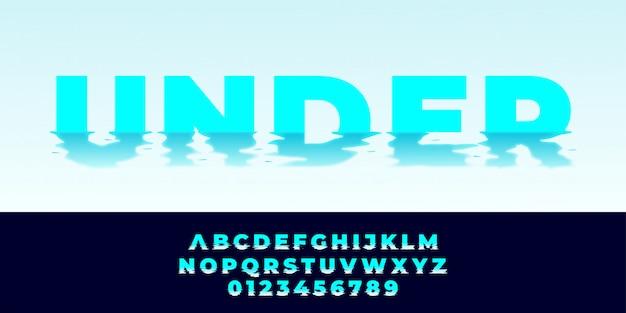Style Alphabet Texte Effet D'eau Vecteur Premium