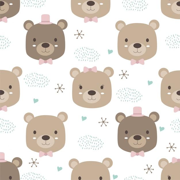 Style Animal Dessiné à La Main, Dessin Animé Ours Mignon Doodle Pastel Wallpaper Vecteur Premium