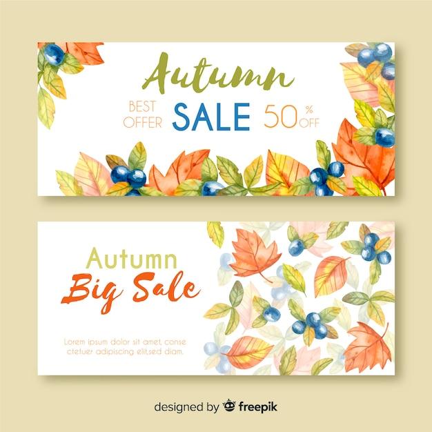 Style d'aquarelle de bannières de vente d'automne Vecteur gratuit