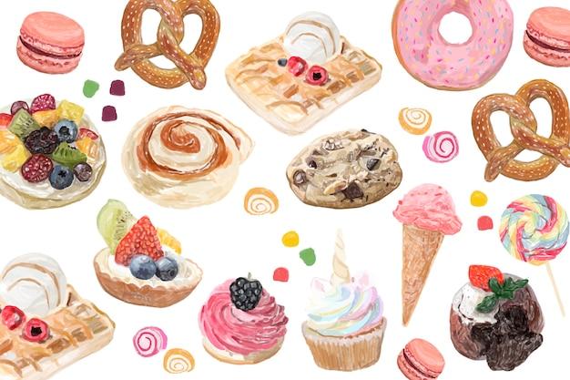 Style aquarelle de bonbons dessinés à la main Vecteur gratuit