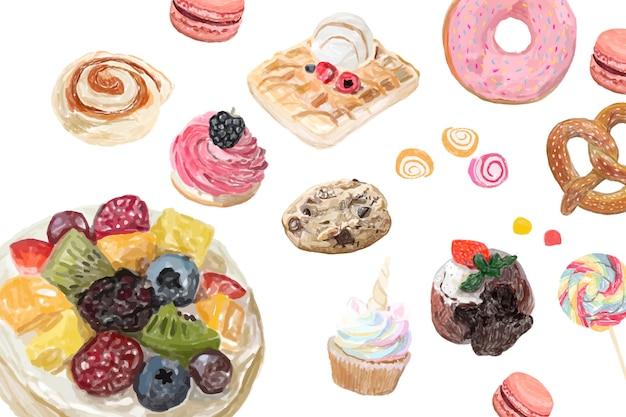 Style d'aquarelle de bonbons dessinés à la main Vecteur gratuit