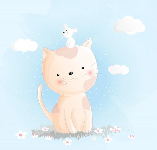 Style d'aquarelle chat mignon Vecteur Premium