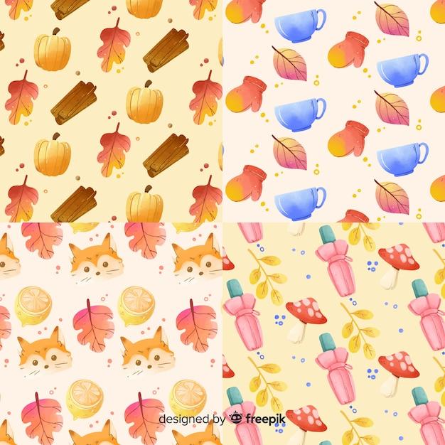 Style d'aquarelle collection automne Vecteur gratuit