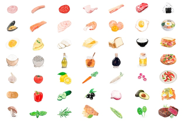 Style D'aquarelle Ingrédients Alimentaires Dessinés à La Main Vecteur gratuit