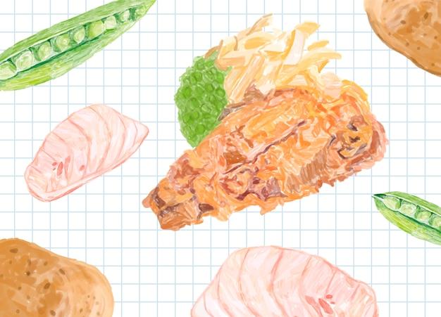 Style Aquarelle De Poisson-frites Dessinés à La Main Vecteur gratuit