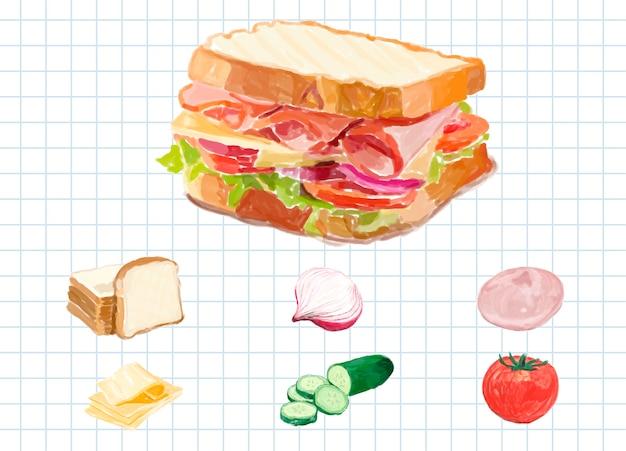 Style aquarelle sandwich dessiné à la main Vecteur gratuit