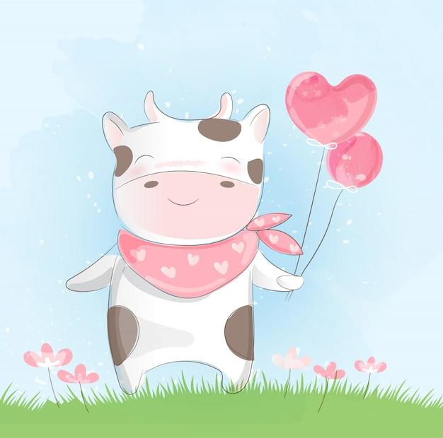 Style d'aquarelle vache mignonne Vecteur Premium
