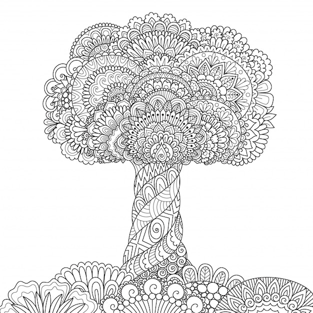 Style Arbre Zentangle, Coloriage Vecteur Premium