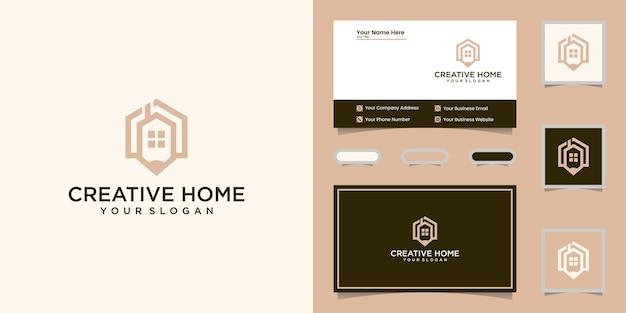 Style D'art Créatif Maison Et Crayon Logo Ligne Et Carte De Visite Vecteur Premium