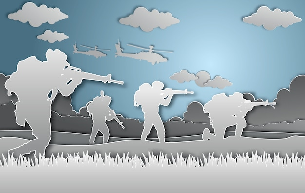 Style d'art militaire vector illustration papier. Vecteur Premium