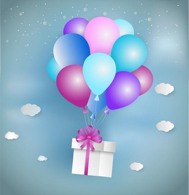 Style art papier de boîte cadeau blanche avec ruban rose et ballon coloré flottant Vecteur Premium