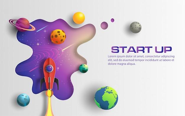 Style art papier de fusée vole dans l'espace avec le concept de démarrage. Vecteur Premium