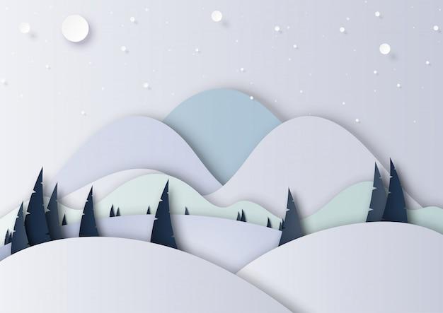 Style de l'art papier hiver saison paysage fond Vecteur Premium