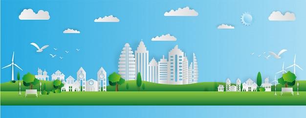 Style d'art de papier de paysage dans la ville Vecteur Premium