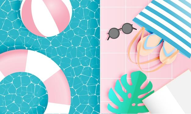 Style d'art de papier de plage avec des couleurs pastel Vecteur Premium