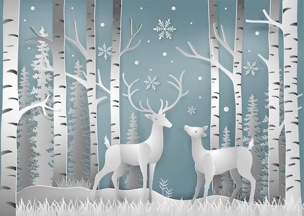 Style d'art de papier de la saison d'hiver et de noël Vecteur Premium