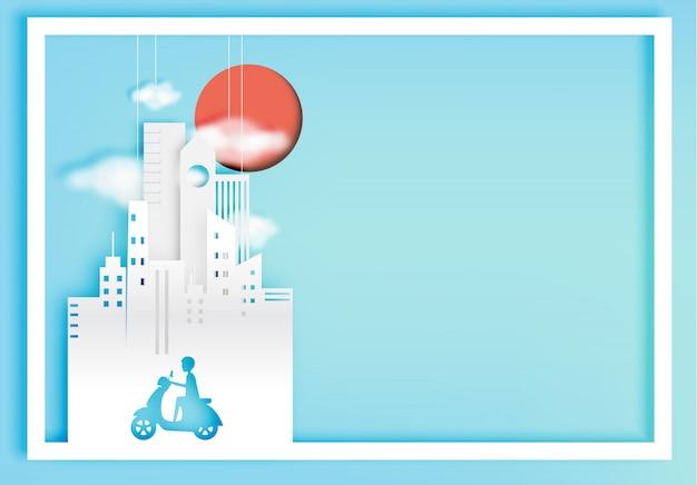 Style d'art papier ville vélo avec illustration vectorielle de ville fond Vecteur Premium