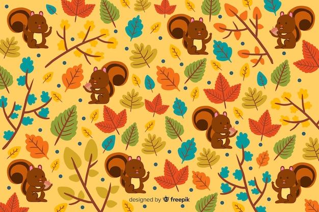 Style d'automne fond dessiné Vecteur gratuit