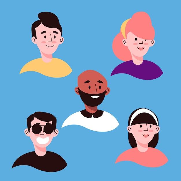 Style D'avatars De Personnes Illustrées Vecteur gratuit