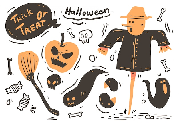 Style De Bande Dessinée Halloween Doodle. Halloween Vecteur Premium