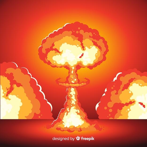Style de bande dessinée illustration explosion nucléaire Vecteur gratuit