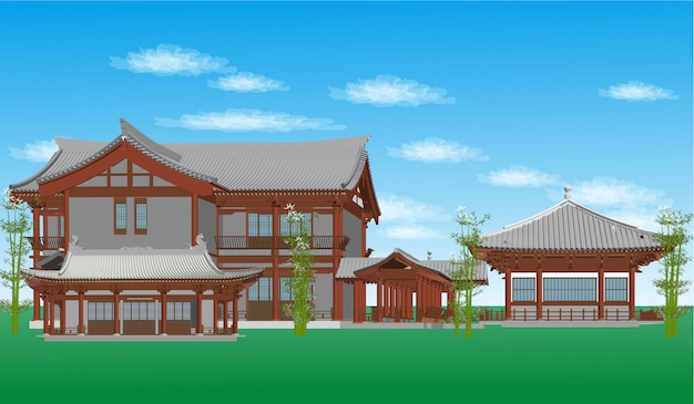 Style de bâtiment chinois de vecteur, illustration japonaise Vecteur Premium