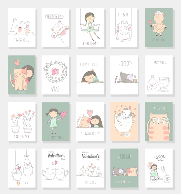 Style de bébé dessiné main mignon bébé carte de dessin animé Vecteur Premium