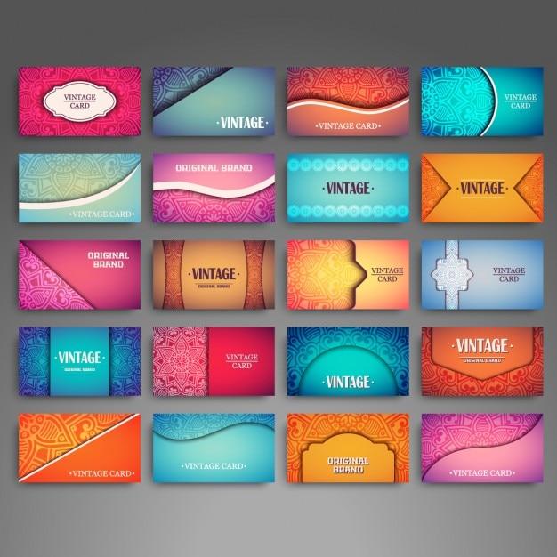 style Boho cartes de visite collection Vecteur gratuit
