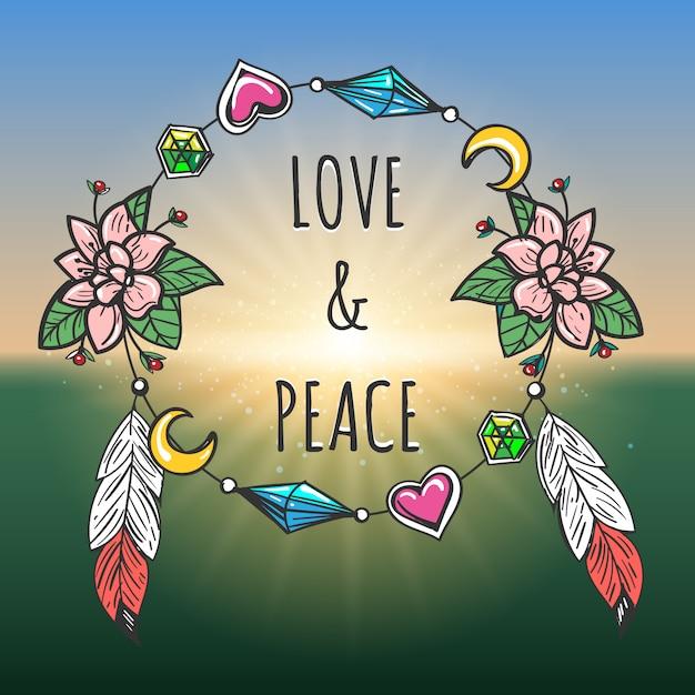 Style boho emblème de l'amour et de la paix Vecteur Premium