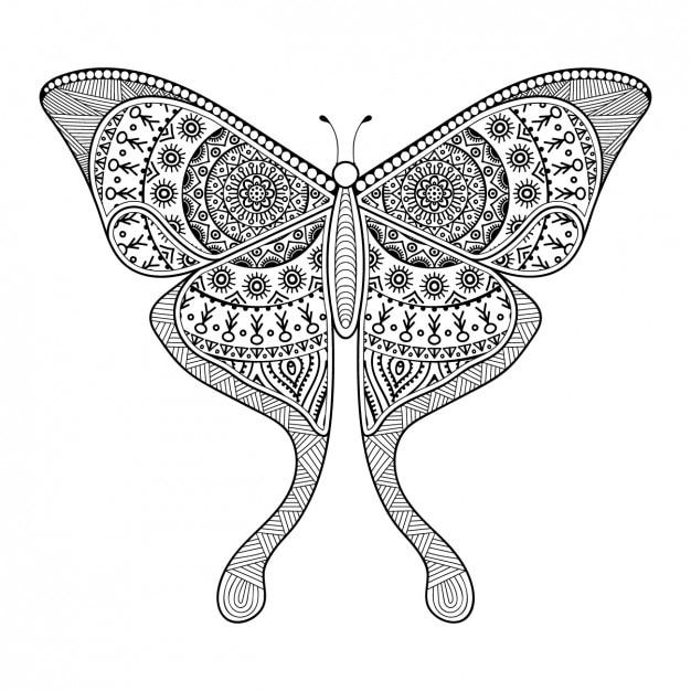 Style Boho Papillon Décoratif Vecteur gratuit