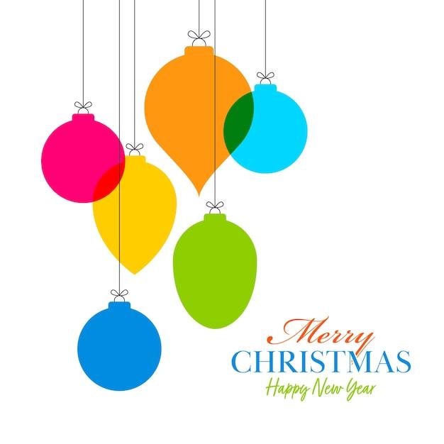 Style Boules Colorées Accrocher Sur Fond Blanc Pour Joyeux Noël Et Bonne Année. Vecteur Premium