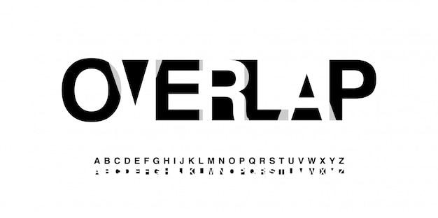 Style de chevauchement des polices de l'alphabet moderne Vecteur Premium
