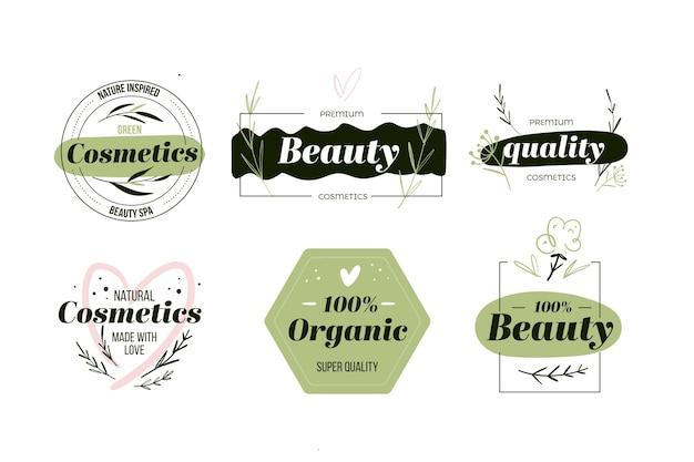 Style De Collection De Logo De Cosmétiques Nature Vecteur Premium