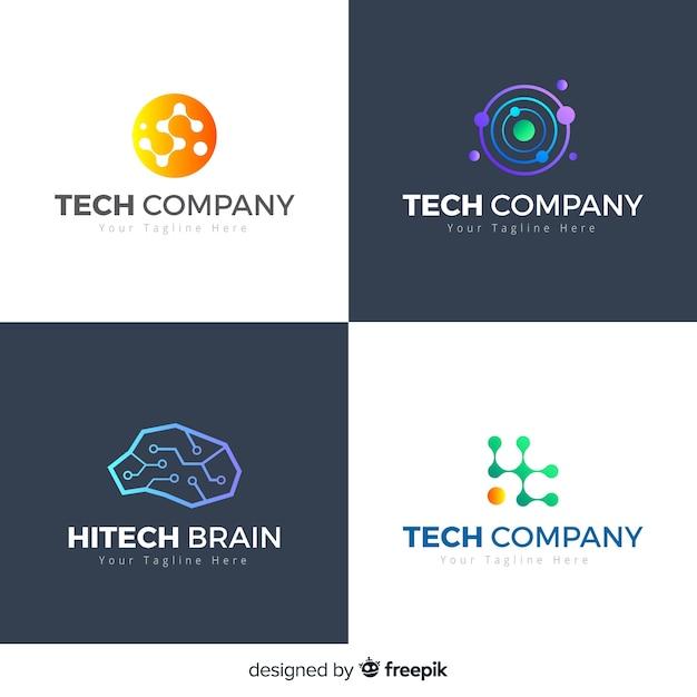 Style de collection de logo de technologie Vecteur gratuit