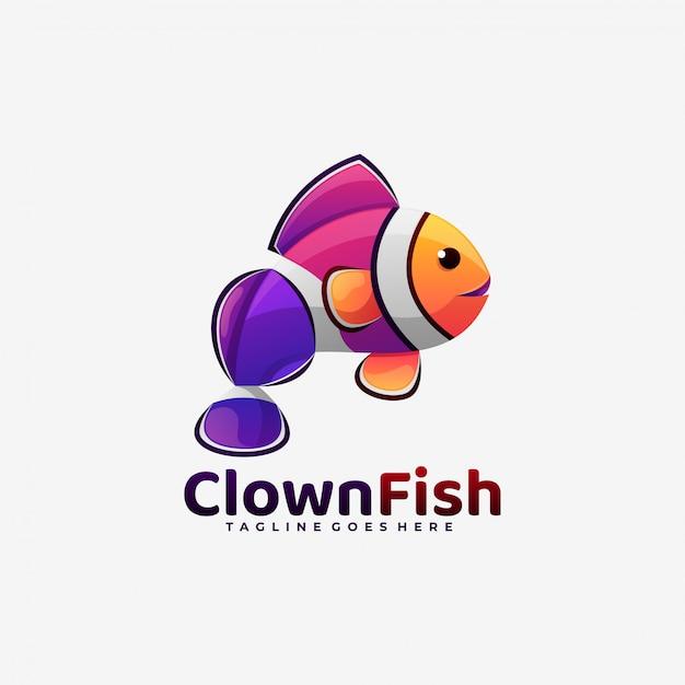 Style Coloré De Dégradé De Poisson Clown Logo. Vecteur Premium