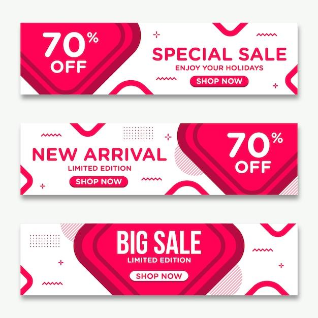 Style coloré de vente de bannières abstraites Vecteur Premium