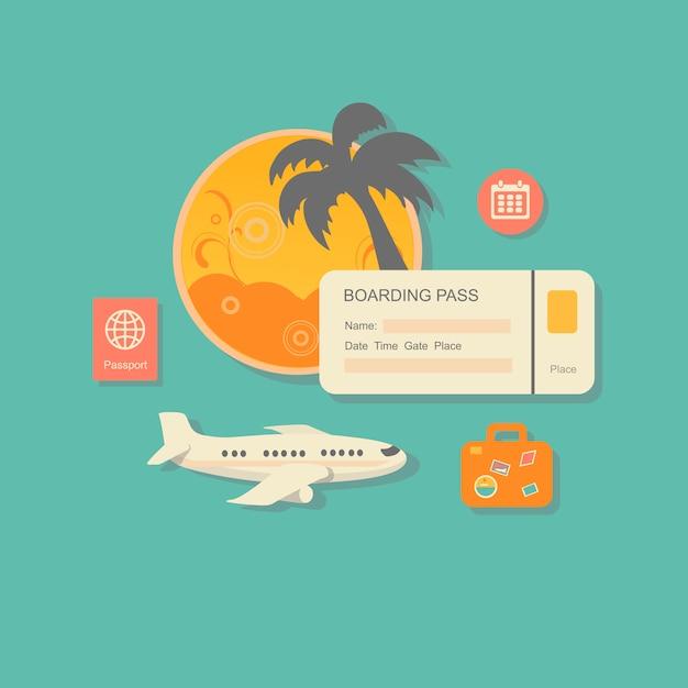 Style concept illustration vectorielle moderne de la planification des vacances d'été Vecteur Premium