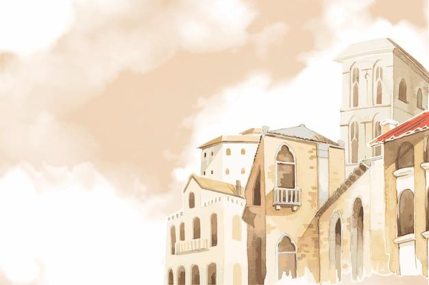 Style de couleur de l'eau extérieur de construction de la ville méditerranéenne Vecteur gratuit
