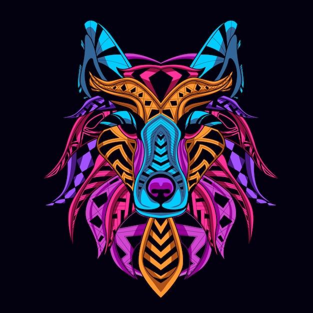 Style de couleur néon tête de loup brille dans le noir Vecteur Premium