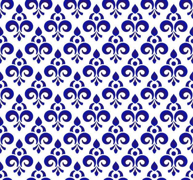 Style damassé de toile de fond ornement floral, conception royale transparente bleu et blanc Vecteur Premium