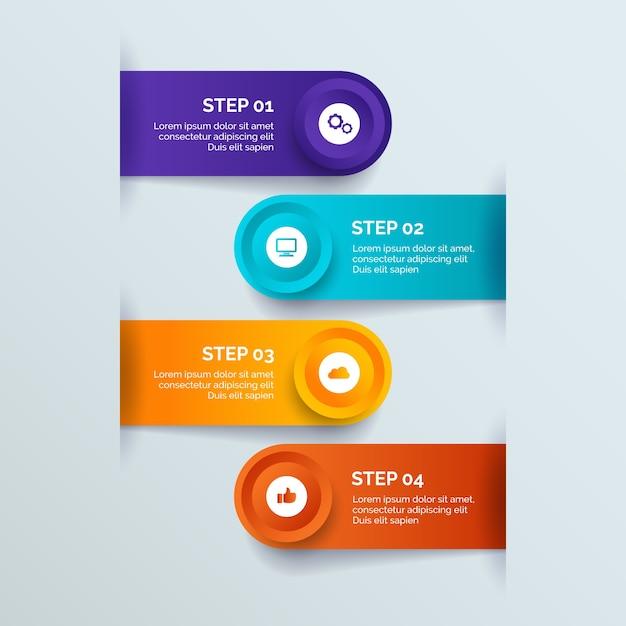 Style de dégradé des étapes d'infographie Vecteur gratuit