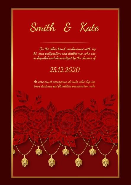 Style de dentelle de carte de mariage sur fond rouge. Vecteur Premium