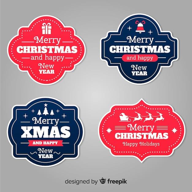 Style de design plat collection badge de noël Vecteur gratuit