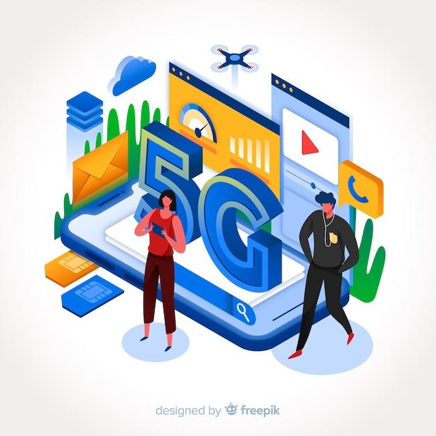 Style de design plat illustration internet entreprise 5g Vecteur gratuit