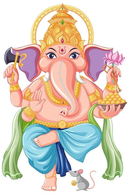 Style De Dessin Animé De Lord Ganesha Vecteur gratuit