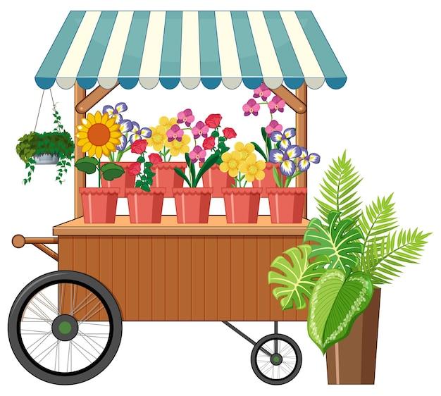 Style De Dessin Animé De Magasin De Chariot De Fleur Isolé Vecteur gratuit