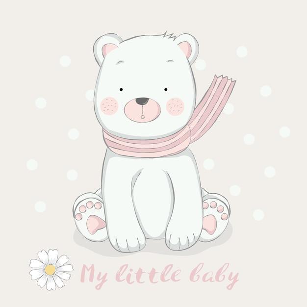 Style de dessin animé mignon bébé ourson dessinés à la main Vecteur Premium