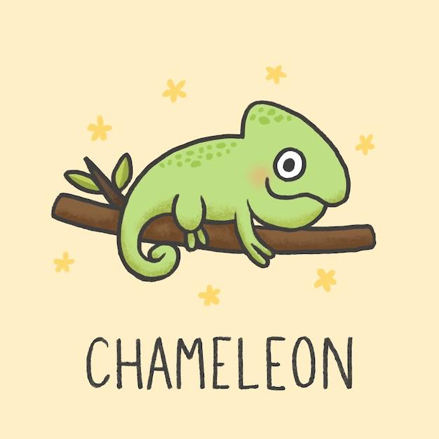 Style de dessin animé mignon caméléon dessiné à la main Vecteur Premium